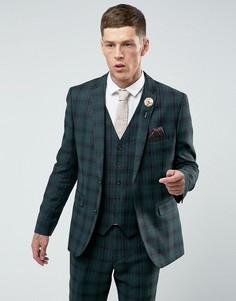 Приталенный пиджак в клетку тартан Harry Brown - Зеленый