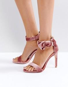 Бархатные босоножки на каблуке с бантом Ted Baker Torabel - Розовый