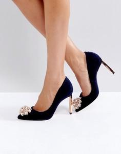 Темно-синие бархатные туфли-лодочки Ted Baker Peetch - Темно-синий