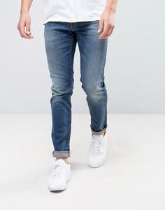 Синие выбеленные джинсы слим Jack & Jones - Синий