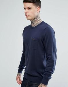 Трикотажный джемпер с длинными рукавами и карманом Ben Sherman - Темно-синий