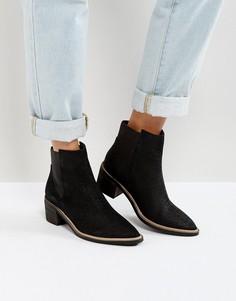 Кожаные ботинки челси на среднем каблуке Park Lane - Черный