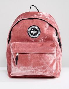 Эксклюзивный бархатный рюкзак розового цвета Hype - Розовый