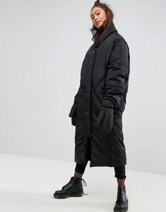 Длинное дутое пальто со съемными варежками ASOS - Черный