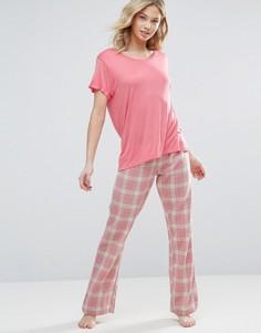 Пижамный комплект в клетку Chelsea Peers - Розовый