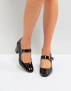 Туфли на невысоком каблуке с пряжкой London Rebel Mary-Jane - Черный