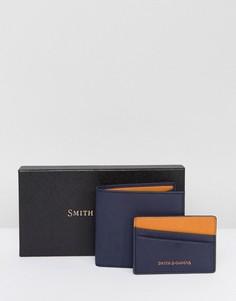 Набор из кожаных бумажника и визитницы Smith And Canova - Темно-синий