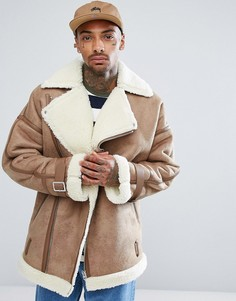 Бежевая байкерская оверсайз-куртка из искусственной овечьей шерсти ASOS - Рыжий