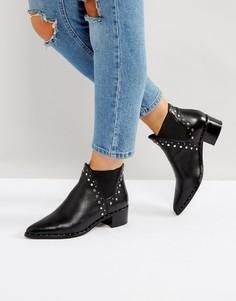 Кожаные ботинки с заклепками Steve Madden Doruss - Черный