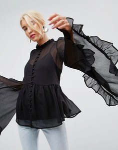 Шифоновая блузка с рукавами кимоно ASOS - Черный