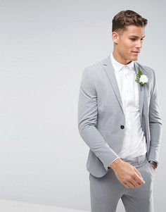 Супероблегающий эластичный пиджак Selected Homme Wedding - Серый