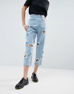 Синие джинсы с рваной отделкой ASOS WHITE - Синий