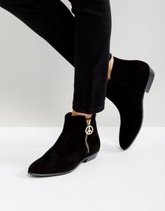 Ботинки на плоской подошве с молнией Love Moschino - Черный
