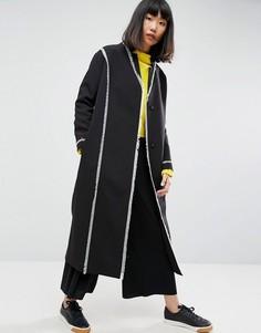 Пальто с потрепанными швами ASOS WHITE - Черный