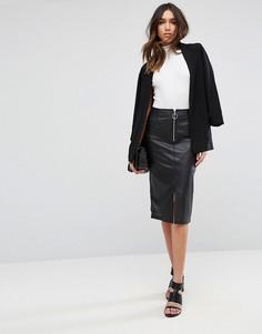 Кожаная юбка-карандаш с отделкой молнией ASOS - Черный