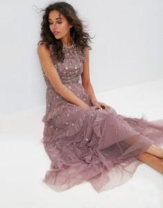 Платье макси с высоким воротом и декоративной отделкой Needle & Thread - Фиолетовый