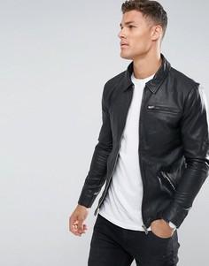 Кожаная куртка Selected Homme - Черный