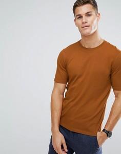 Трикотажная футболка из органического хлопка Selected Homme - Оранжевый