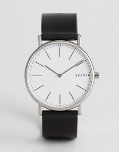 Черные часы с кожаным ремешком Skagen SKW6419 Signatur - Черный