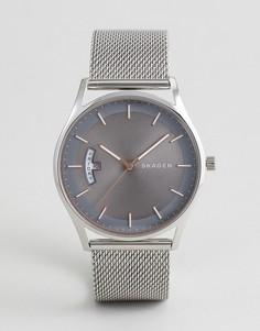 Серебристые часы с сетчатым браслетом Skagen SKW6396 Holst - Серебряный