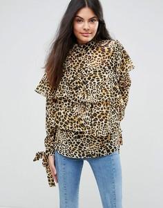 Блузка с оборками и леопардовым принтом ASOS - Мульти