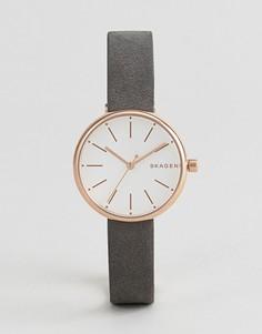 Часы с черным кожаным ремешком Skagen SKW2644 Signatur - Черный
