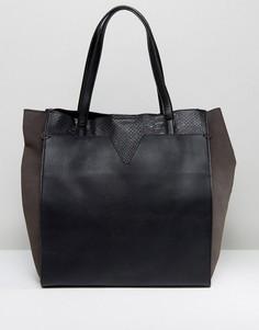 Черная сумка-тоут со змеиным узором Nali - Черный