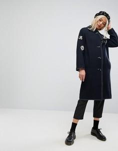 Пальто с нашивками в стиле милитари ASOS - Темно-синий