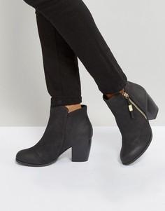 Полусапожки на каблуке с молнией сбоку Qupid - Черный