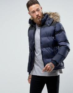 Темно-синяя дутая куртка со съемным капюшоном и меховой отделкой Schott - Темно-синий