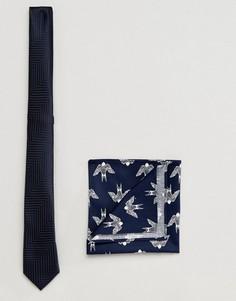 Темно-синий фактурный галстук и платок-паше с принтом ASOS - Темно-синий