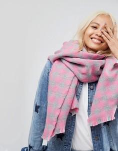 Квадратный шарф в клетку ASOS - Розовый