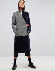 Пальто в клетку с контрастным поясом ASOS - Мульти