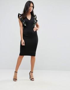 Платье миди с вышивкой на оборках Club L - Черный