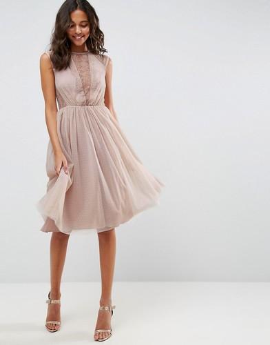 Кружевное платье миди ASOS - Розовый