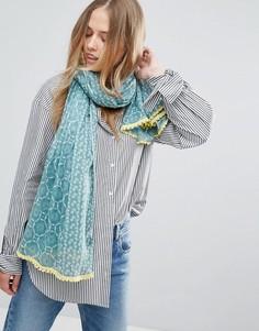 Хлопковый шарф с кружевным принтом Yumi - Синий