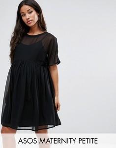 Свободное тканое платье ASOS Maternity PETITE - Черный
