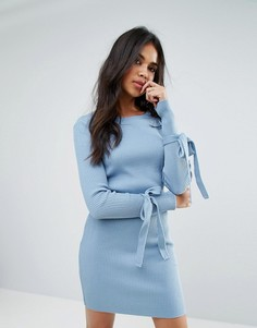 Платье в рубчик с завязками на манжетах Boohoo - Синий