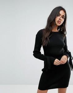 Платье в рубчик с завязками на манжетах Boohoo - Черный