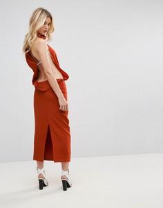 Асимметричное платье с открытой спиной None The Richer - Оранжевый