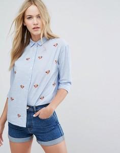 Рубашка с цветочной вышивкой New Look - Синий