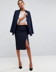 Комбинируемая юбка-карандаш с завышенной талией и разрезом сбоку ASOS - Темно-синий
