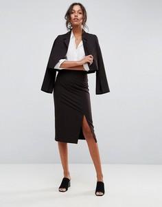 Комбинируемая юбка-карандаш с завышенной талией и разрезом сбоку ASOS - Черный