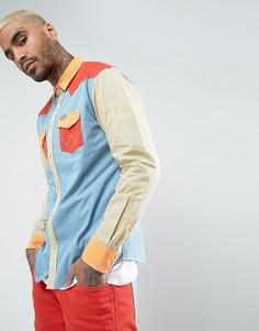Рубашка колор блок в стиле вестерн Wrangler Peter Max - Синий