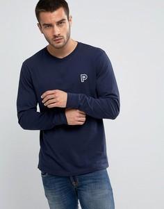 Темно-синий лонгслив классического кроя с логотипом Penfield Copley - Темно-синий