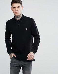 Черная футболка-поло с длинными рукавами и логотипом PS by Paul Smith - Черный