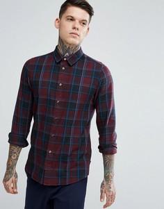 Бордовая облегающая рубашка в клетку PS by Paul Smith - Красный
