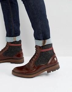 Ботинки на шнуровке из кожи и ткани Ted Baker Ruulen - Коричневый