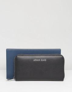 Черный кожаный кошелек на молнии Armani Jeans - Черный