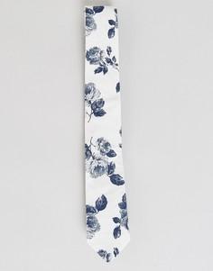 Галстук с цветочным принтом Noose & Monkey - Белый